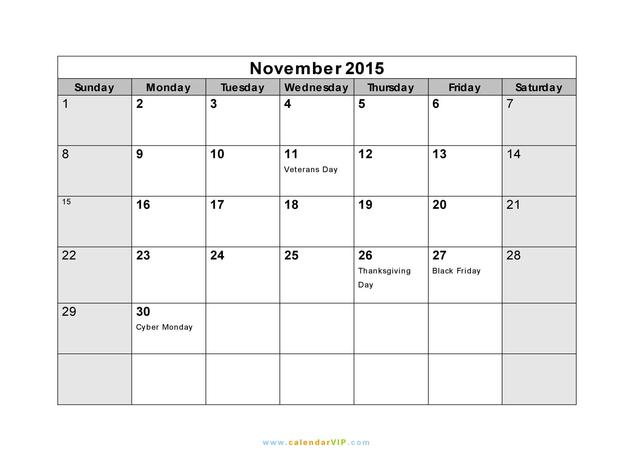November Calendar 2015 With Holidays : November calendar blank printable template