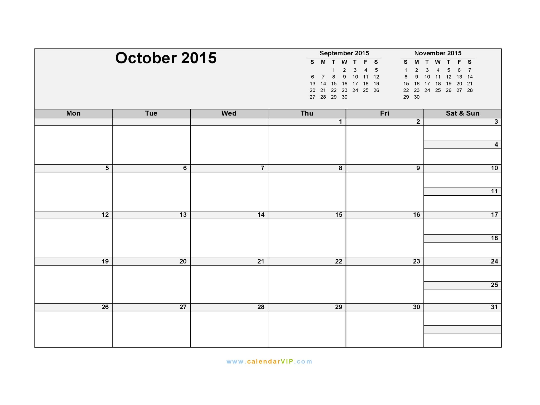October 2015 Calendar Blank Printable Calendar Template in PDF – Word Template Calendar 2015