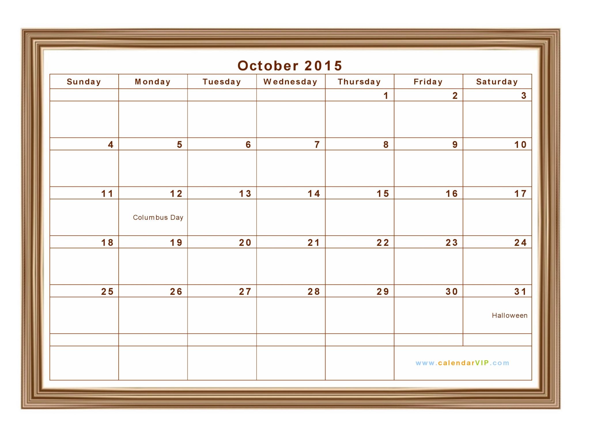 oct 2015 calendar template