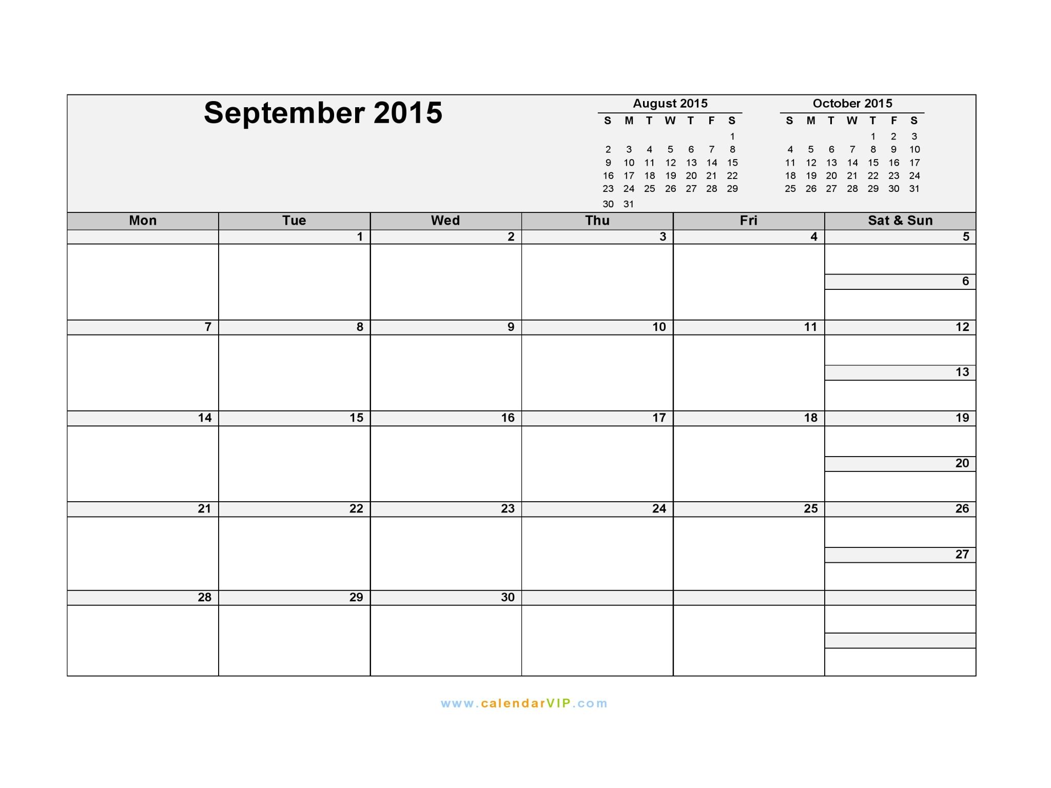... 2015 Calendar - Blank Printable Calendar Template in PDF Word Excel