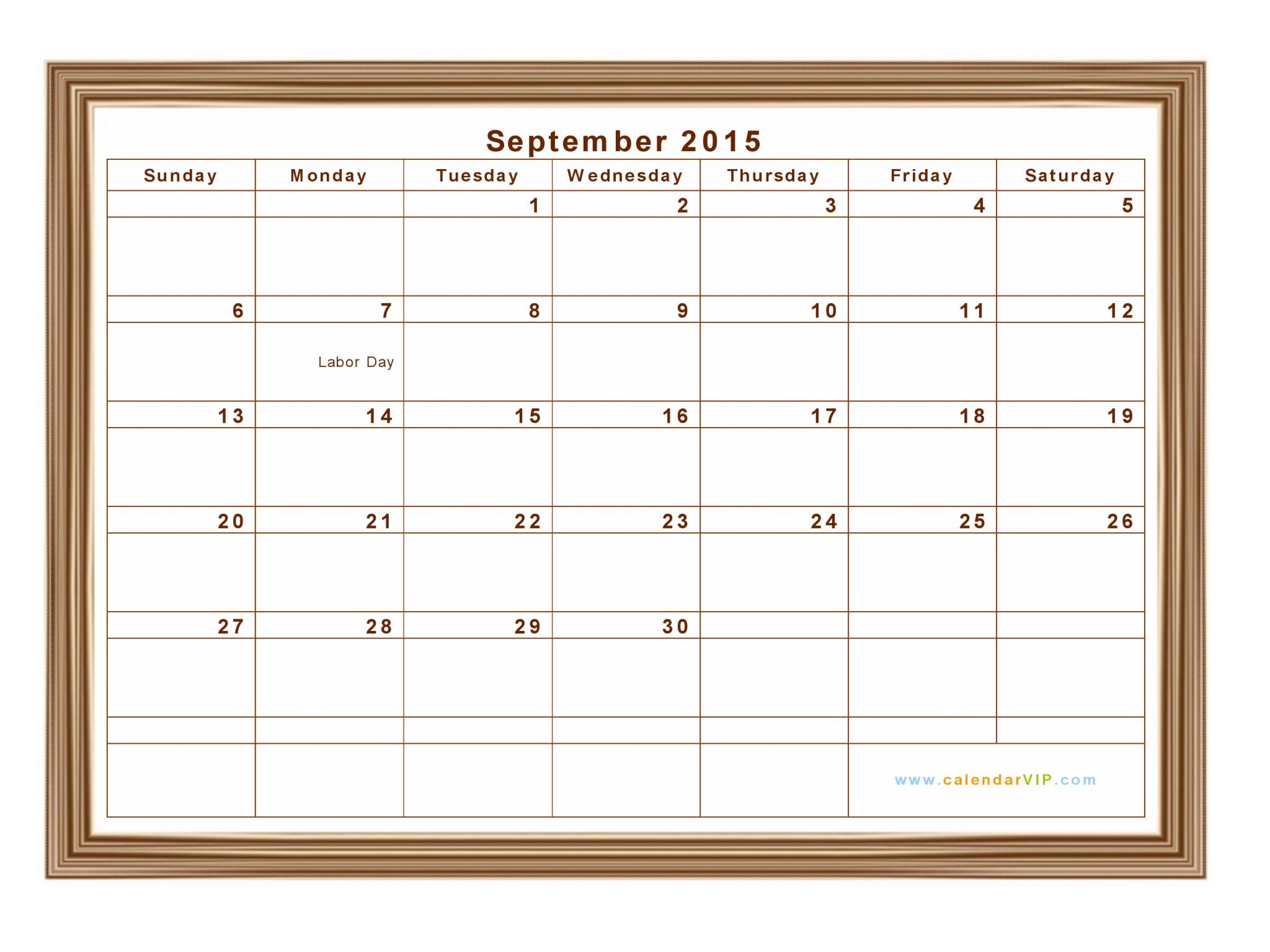 September 2015 Calendar - Blank Printable Calendar Template in PDF ...