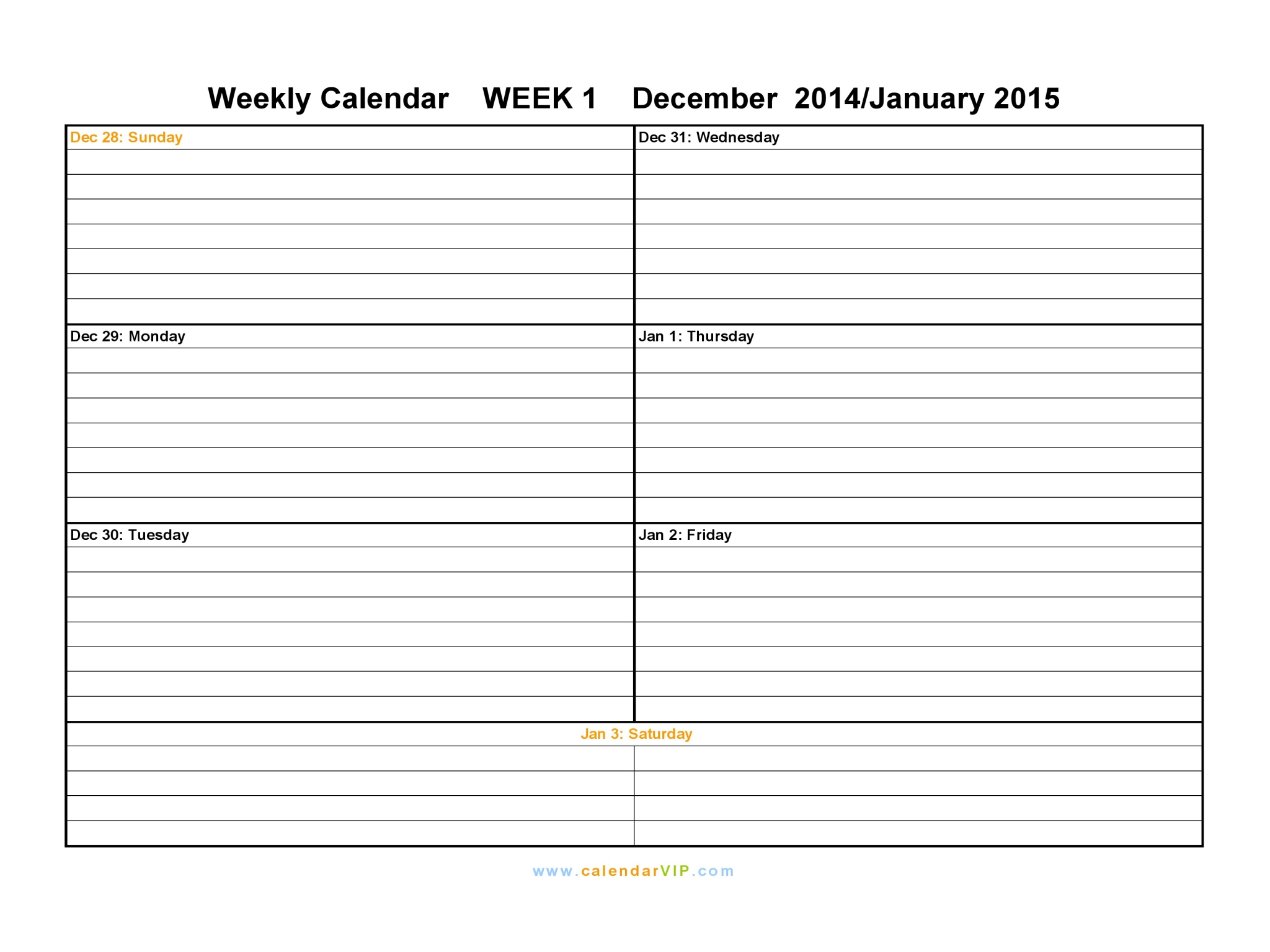 Weekly Blank Calendars | Male Models Picture